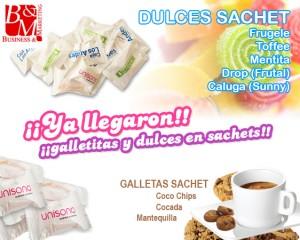 Galletitas y dulces en sachet con logo